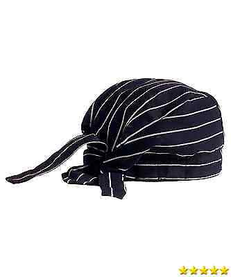 KNG Chef Tie Back Cap, Black with White New