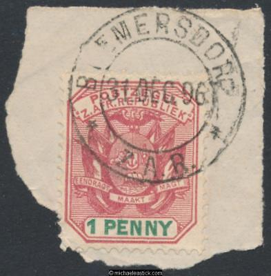 Swaziland SG Z31, 1d on piece, Bremersdorp, 31-12-1896
