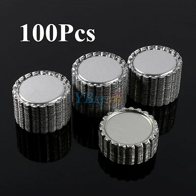 "100Pcs Flat 1"" Silver Flattened Linerless Bottle Caps Hair Bow DIY Craft NO Hole"