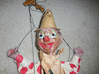 Vintage Marionette Hobo Clown composition Puppet Freaky Scary - As Is