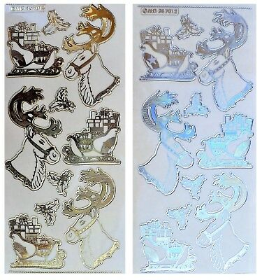 REINDEER & SLEIGH Christmas Embossed Peel Off Stickers Holly Gold or Silver
