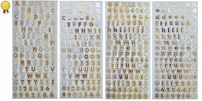ALPHABET LETTERS & NUMBERS 12mm Peel Off Stickers Gold or Silver Clear Sticker