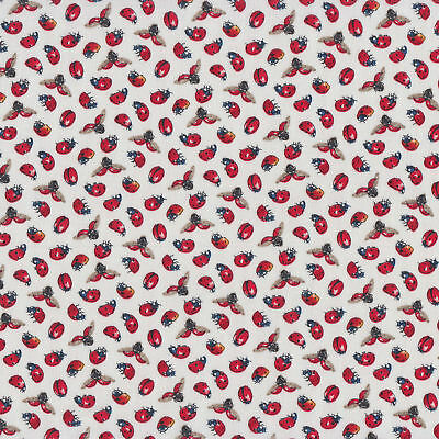 Tiny Ladybirds on White Flying Ladybugs Insect Quilt Fabric FQ or Metre *New*