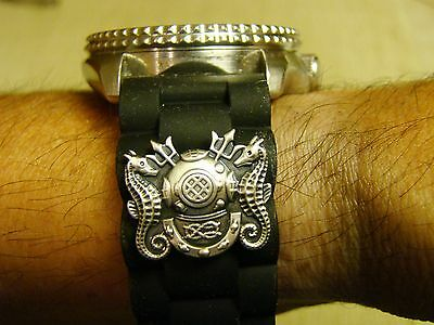 22Mm Deep Sea Diver Master Hard Hat Diver's Watchband Watch Band Fits All Sizes