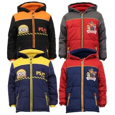 Boys Despicable Me Jacket Coat Padded Hood Nickelodeon Minion Paw Fleece Winter