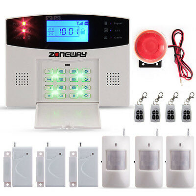 Wireless Alarm System LCD GSM SMS Autodial Sensor Call IR Detector Home Security