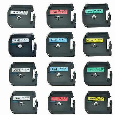 MK M-K Label Tape for Brother P-touch PT-65 70 80 55BM Label Maker 9mm/12mm 8m