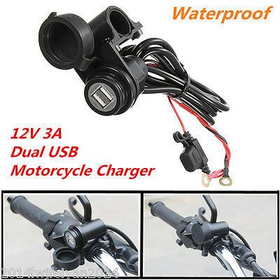 12V Waterproof 2 USB Port 3A Motorcycle Mobile Phone GPS Charger Power Adapter