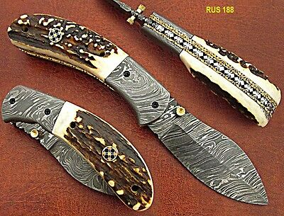 "7""union Knives Custom Made Damascus Steel Pocket Knife (Stag Handle)"