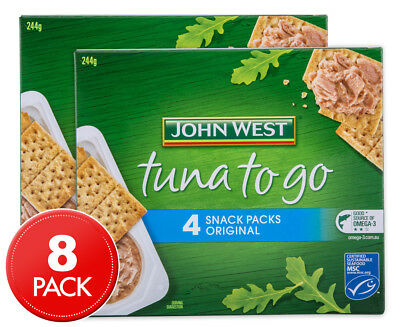 2 x John West Tuna To Go Snack Packs Original 244g 4pk