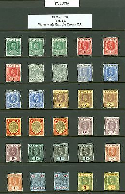 St Lucia, King George V. Mint collection on 3 stock cards. Includes 1912-21...