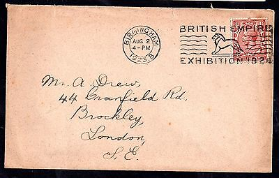 GB KGV 1923 postal history cover with Wembley Exhibition slogan WS1628