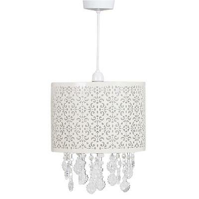 Shabby Chic Easy Fit Cream Metal Ceiling Shade with Droplets Chandelier Light