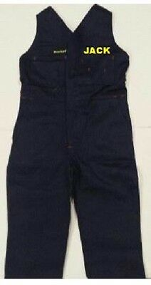 NEW Kids ACTION BACK WORK OVERALLS KHAKI OR  NAVY with EMBROIDERED NAME