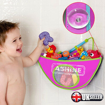 UK Baby Kids Bath Play Toy Organizer Tidy holder Bag Net Pouch Storage Suckers
