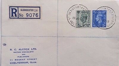 Great Britain 1950 Gloucester Registered Cover With Industrial Exhibition Cancel