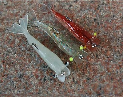 3x 100mm Prawn Soft Plastic Lure Bream Flathead Redfin Fishing Lures Tackle