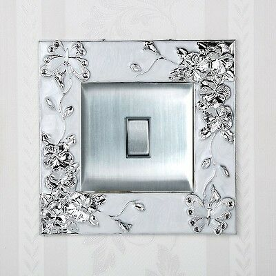 Silver Butterfly Flower Single Light Switch Surround Socket Finger Plate Cover