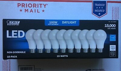 FEIT 10 Bulbs LED 100 Watts Replacement uses 15W Daylight E26 5000K 1600 Lumens