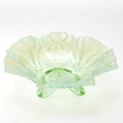 Vintage Green Clear And Milk Glass Ruffle Edge Footed Bowl