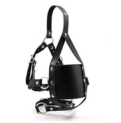 Leather Strap Head Hood, Dungeon Party Bondage Fetish Soft Cherry Red Ball Gag