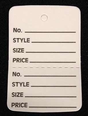 5000 White Clothing Consign Tag Perforated Unstrung Price Merchandise Store Tag