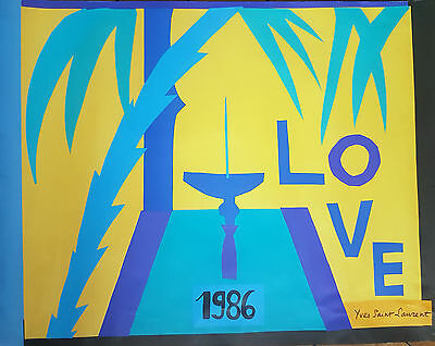 YVES SAINT LAURENT LOVE 1986 Affiche de Mode Originale