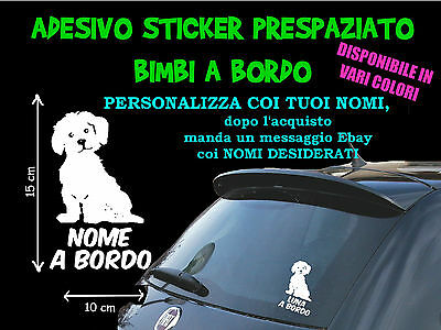 Sticker Stickers Maltese Cane A Bordo Board Family Adesivo Personalizzato Nome