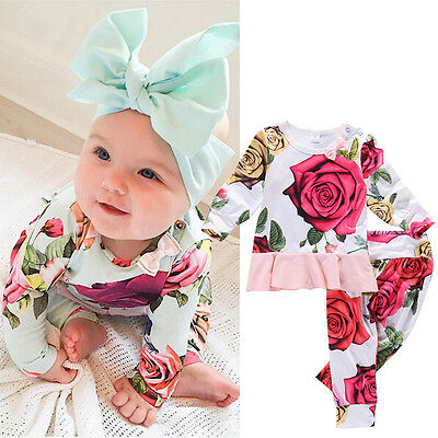 Floral Baby Girls Long Sleeve T-shirt + Pants Leggings Outfits 2PCS Clothes Set