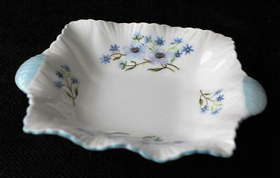 "Vtg SHELLEY Bone China England Dainty BLUE ROCK Pattern #13591 5"" Square Dish Ch"