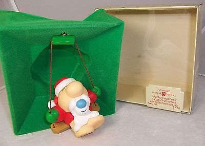 Vintage American Greetings ZIGGY ornament Holiday Happiness w/ Fuzz 1982 Swing