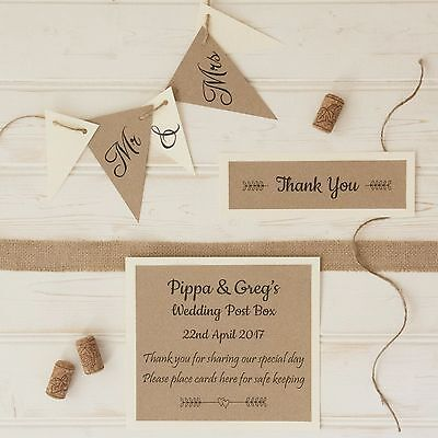 personalised WEDDING POST BOX SIGN and BUNTING Kraft Card Jute twine COLOURS