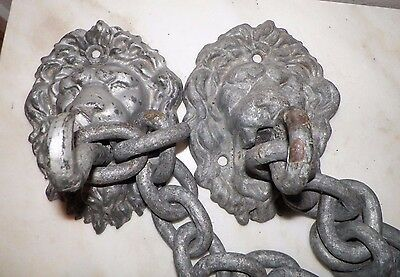 Vintage Pair Of Heavy Cast Iron Lion Heads With Chain Gate Lock Safety Chain