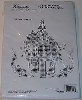 Herrschners Christmas Birdhouse Stamped Cross Stitch Table Runner & Napkins