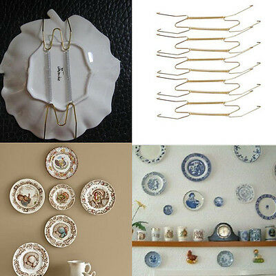 """10Pcs 8-Inch Wall Display 7.5"""" to 9.5"""" Plate Dish Hangers Holder Home Bar Decor"""