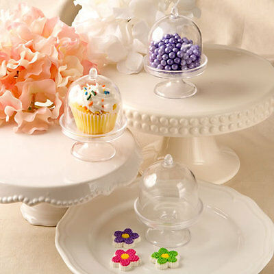 "Medium Size Plastic Cake Stand With Lid Treats  Cup Cakes 3"" Wide  4"" Tall New"