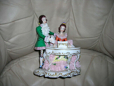 Lovely Vintage Dresden Piano Figural Figurine 7X6X5