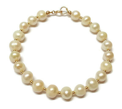 9ct Yellow Gold Bead Bracelet with Genuine White Freshwater Pearls 7.5 inch