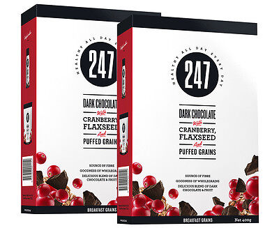 2 x 247 Dark Choc, Cranberry & Flaxseed Breakfast Grains 400g
