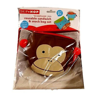 Skip Hop Zoo Reusable Sandwich and Snack Bag Set, Monkey