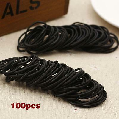 100pcs Elastic Rope Womens Fashion Hair Ties Ponytail Holder Hairbands Black SS