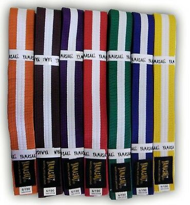 Yamasaki Coloured Martial Arts Belts (With Stripe)
