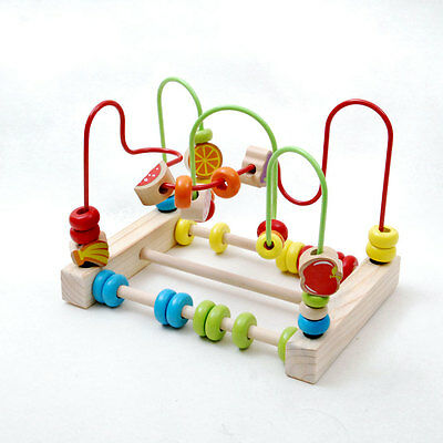 New educational toy wooden rectangular fruit Wire Beads Maze