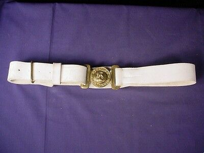 WW1 Dieu Et Mon Droit White Military Bely and Buckle
