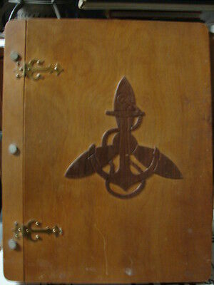 Original WW2 US Navy WAVE ID'd Photos & Papers in Wood Carved Album