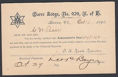 Usa 1895-6 Two Postal Stationery Cards Knights Of Pythias & Knights Of Honour