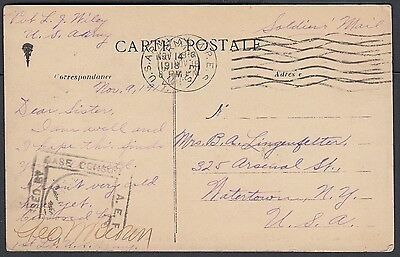 Usa 1918-19 Two Censored French Postcards Us Army M.p.e.s Cancels To Usa