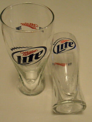 Set of 2 MILLER LIGHT BEER PINT GLASS with Name & Logo + It's Miller Time NEW