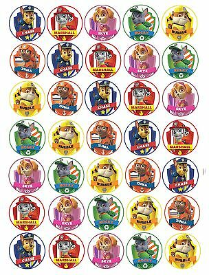 PRE CUT 35 x Paw Patrol Edible Rice/Wafer CARD Cupcake toppers