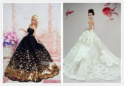 2 PCS Fashion Royalty princess Dress clothes Outfit For Barbie Doll Silkstone